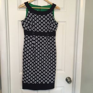LONDON TIMES Navy and White Sleeveless Dress